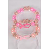 Bracelet Glass Pearl 12 mm Pink Ribbon Rhineston Bezel/DZ **Stretch** 6 of each Color Asst,Hang Tag & OPP bag & UPC Code