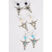 "Earrings Metal Antique Bull Head Semiprecious Stone/DZ match 70130 **Fish Hook** Size-1.75"" x 1.5"" Wide,4 Black,4 Ivory,4 Turquoise Asst,Earring Card & OPP Bag & UPC Code -"