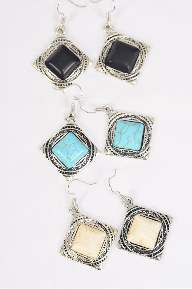 "Earrings Metal Antique Square Semiprecious Stone/DZ **Fish Hook** Size-1.25""x 1.25"" Wide,4 Black,4 Ivory,4 Turquoise Asst,Earring Card & OPP Bag & UPC Code -"