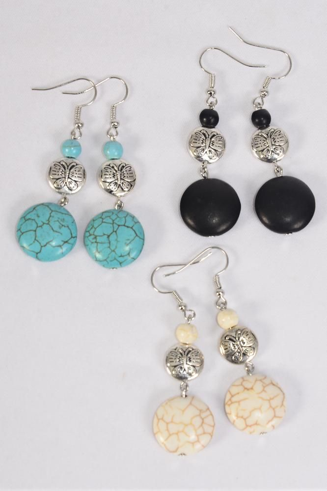 "Earrings Metal Antique Semiprecious Stone/DZ match 70130 **Fish Hook** Size-1.75""x 1.25"" Wide,4 Black,4 Ivory,4 Turquoise Asst,Earring Card & OPP Bag & UPC Code -"