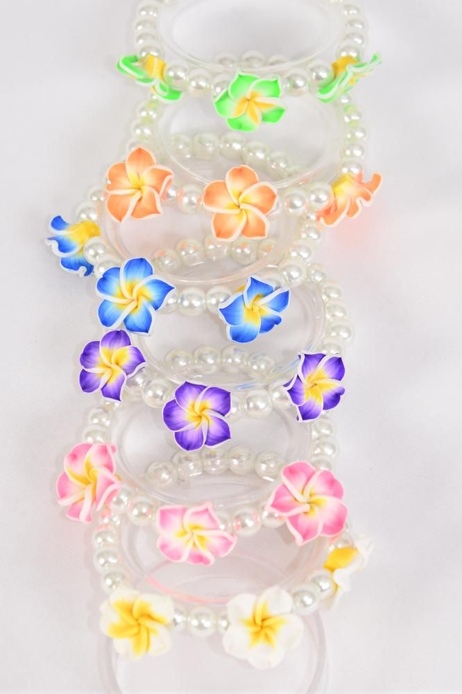 Bracelet 10 mm Glass Pearl Aloha Flowers/DZ match 03178 **Stretch** 2 of each Color Asst,Hang Tag & OPP Bag & UPC Code
