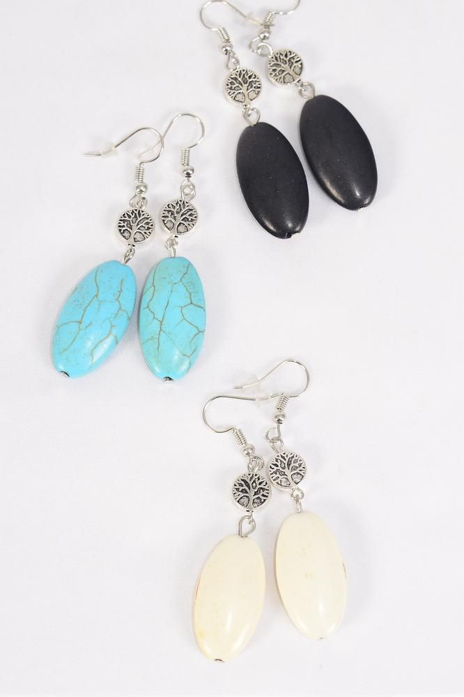 "Earrings Tree of life Oval Semiprecious Stone/DZ **Fish Hook** Size-1.75""x 0.75"" Wide,4 Black,4 Ivory,4 Turquoise Asst,Earring Card & OPP Bag & UPC Code -"