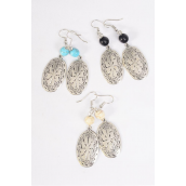 "Earrings Metal Antique Oval Western Like Semiprecious Stone/DZ **Fish Hook** Size-1.75""x 0.75"" Wide, 4 Black,4 Ivory,4 Turquoise Asst,Earring Card & OPP Bag & UPC Code -"