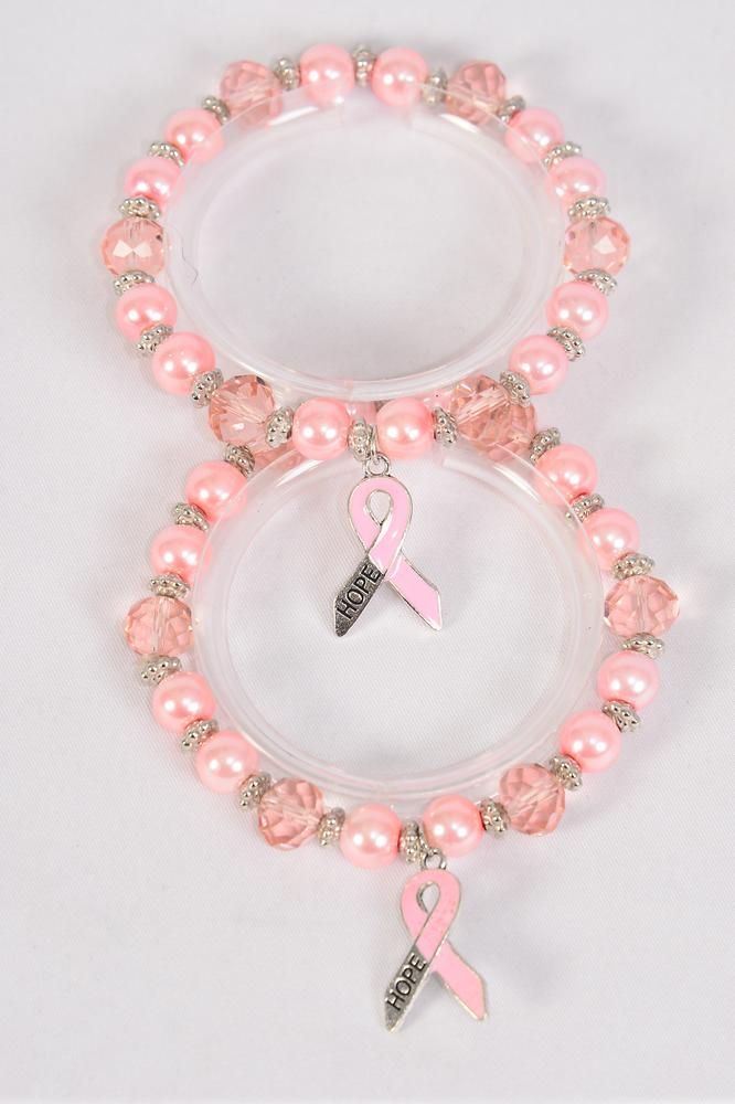Bracelet 8 mm Glass Pearl & Crystal Pink Ribbon Hope/DZ **Stretch** 6 of each Color Asst,Hang Tag & OPP Bag & UPC Code