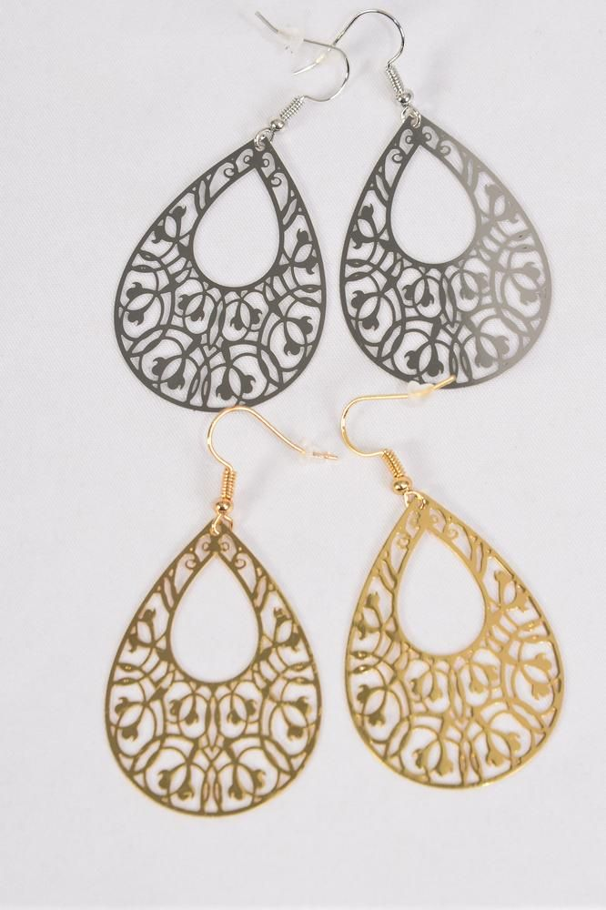 "Earrings Laser Cut Stainless Steel Tear Drop G/S/DZ **Fish Hook** Size-1.75""x 1.25"" Wide,6 Silver & 6 Gold Mix,Earring Card & OPP bag & UPC Code"