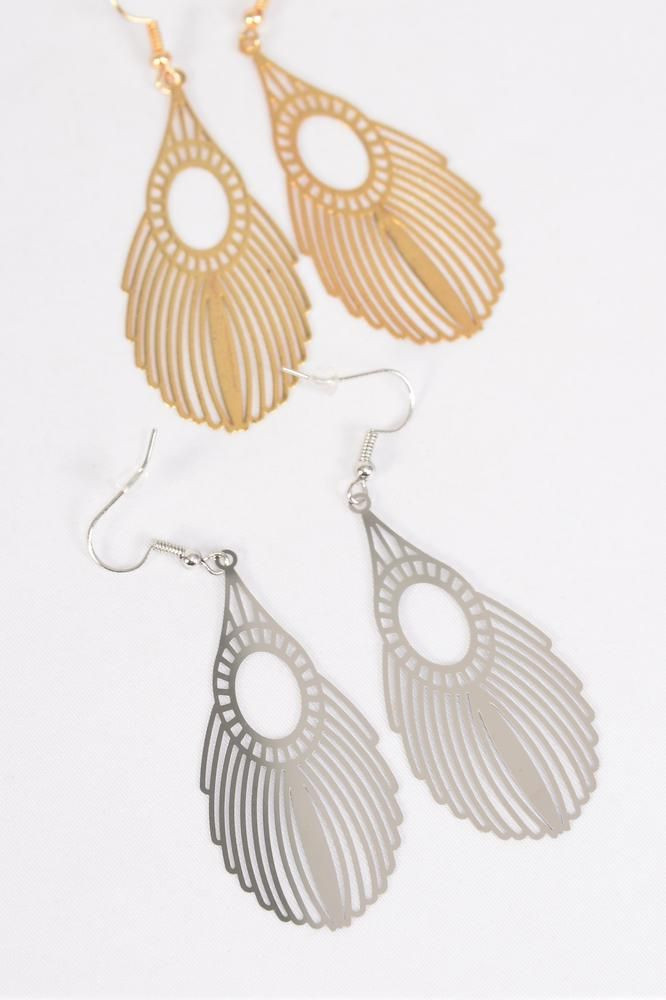 "Earrings Laser Cut Stainless Steel Filigree Tear drop G/S/DZ **Fish Hook** Size-2""x 1"" Wide,6 Silver & 6 Gold Mix,Earring Card & OPP bag & UPC Code"