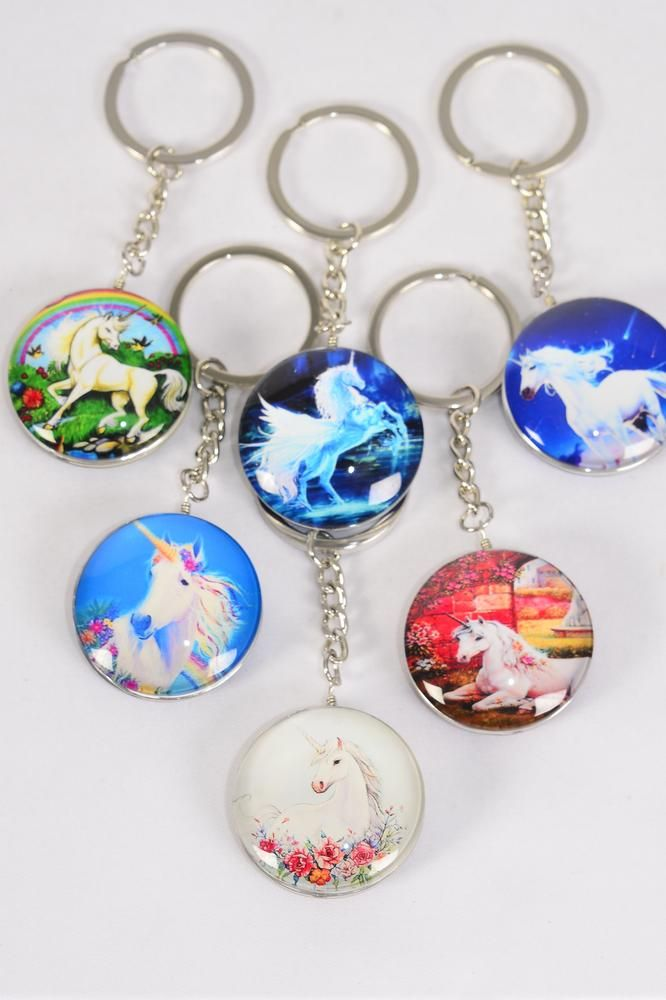"Key Chain Unicorn Double Sided Glass Dome Multi/DZ match 03079 **Multi** Size-1.5"" Wide,2 of each Design Asst,Hang Tag & OPP Bag & UPC Code"