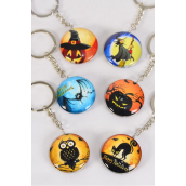 "Key Chain Halloween Double Sided Glass Dome/DZ match 03068 **Haloween** Size-1.5"" Wide,2 of each Design Asst,Hang Tag & OPP Bag & UPC Code"