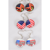 "Earrings Patrictio Flag Double Sided Glass Dome/DZmatch 70109 **Fish Hook** Size-0.75"" Wide,4 of each Design Asst,Earring Card & OPP Bag & UPC Code"