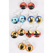 "Earrings Halloween Double Sided Glass Dome/DZ match 70119 **Fish Hook** Size-0.75"" Wide,2 of each Design Asst,Earring Card & OPP Bag & UPC Code"