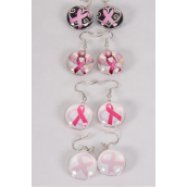 "Earrings Pink Ribbon Double Sided Glass Dome/DZ match 70121 **Fish Hook** Size-0.75"" Wide,3 of each Design Asst,Earring Card & OPP Bag & UPC Code"