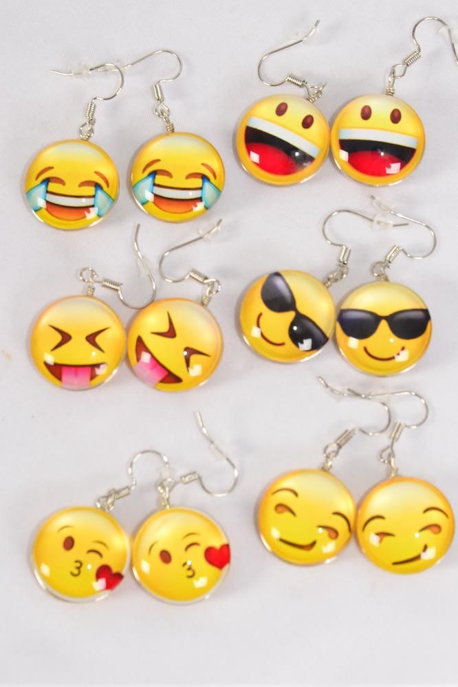 "Earrings Emoji Double Sided Glass Dome/DZ match 70117 **Fish Hook** Size-0.75"" Wide,2 of each Design Asst,Earring Card & OPP Bag & UPC Code"