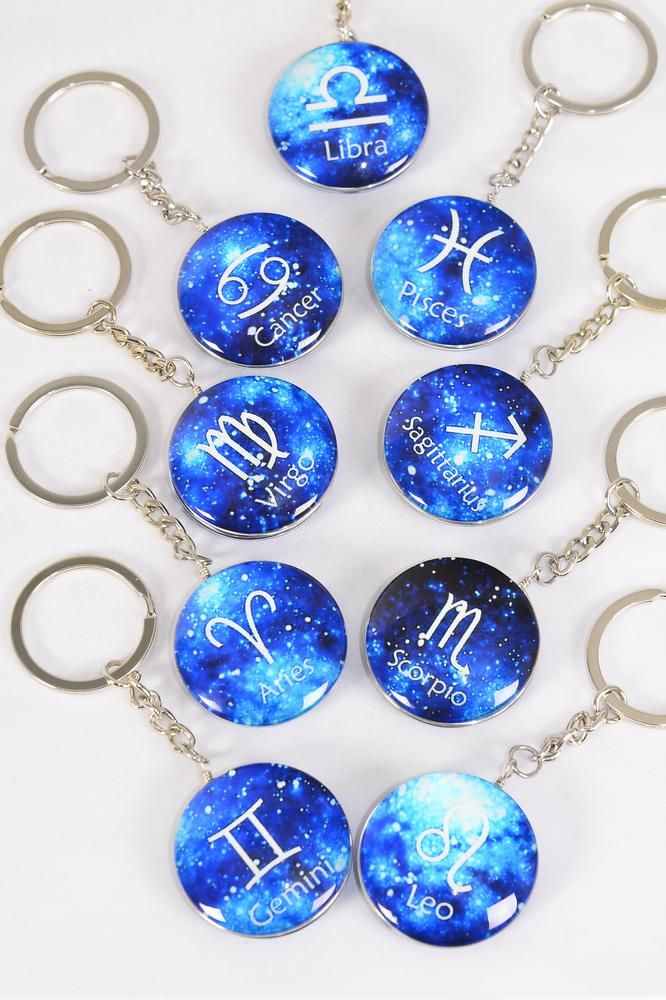 "Key Chain Zodiac Double Sided Glass Dome Blue/DZ match 03074 **Blue** 1.5"" Wide,12 Month Asst,Hang Tag & OPP Bag & UPC Code"