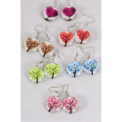 "Earrings Tree of Life Heart Double Sided Glass Dome/DZ match 70102 **Fish Hook** Size-0.75"" Wide,2 of each Design Asst,Earring Card & OPP Bag & UPC Code"