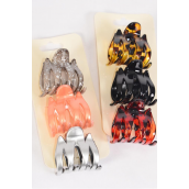 Jaw Clip Sets M Shape Jaw Clip 4.5 cm 36 pcs Color Asst Inner Pack of 3/DZ Size-5.5 cm,6 of each Color Asst,Individual Display Card & Opp Bag & UPC Code