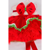 "Tutu Dress Watermelon 2 pcs Sets /Sets Size-0-12 month,Bowtie-5""x 4.25"" Wide,Display Card & UPC Code"