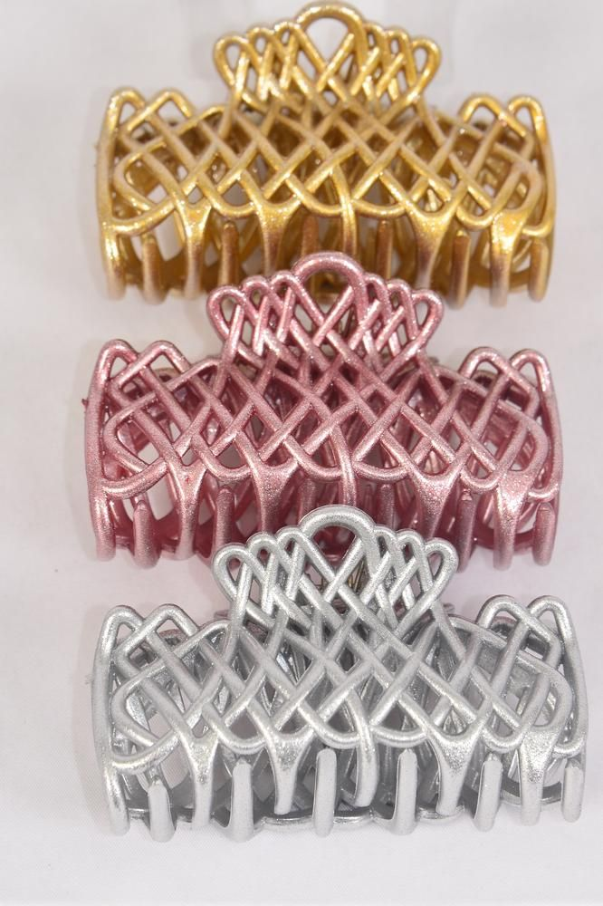 Jaw Clip 10 cm Metallic Gold Silver Pink Mix/DZ Size-10 cm Wide,4 of each Color Asst,Hang Card & Individual OPP Bag & UPC Code