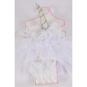 "Tutu Cake Dress Unicorn Theme 3 pcs Sets White/Sets **White** Size-0-24 month,Unicorn-5""x 2"",Shoe/Stretch,Display Card & UPC Code"