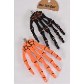 "Hair Clip Skeleton Hand Orange Black Mix/DZ ** Alligator Clip** Size-4.5""x 3"",6 of each Color Asst,Hang Card & Individual OPP Bag & UPC Code"