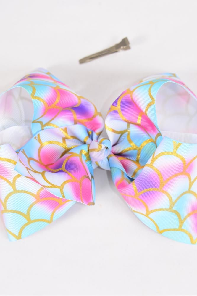 "Hair Bow Jumbo Cheer Type Bow Mermaid Scale Tiedye Pastel Grosgrain Bow-tie/DZ **Alligator Clip** Size-8""x 7"" Wide,Clip Strip & UPC Code"
