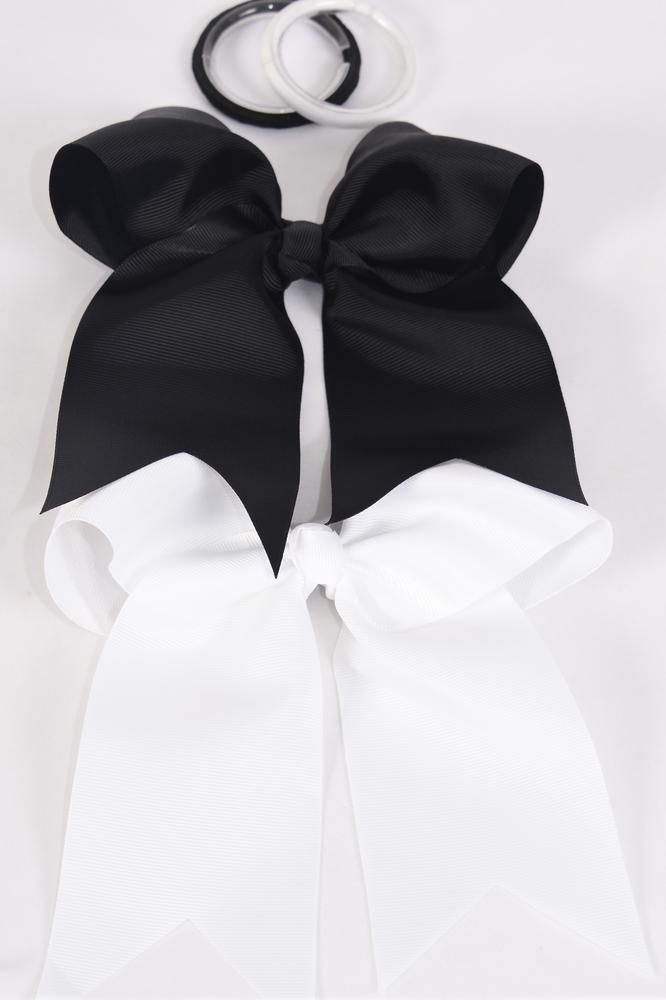 "Hair Bow Extra Jumbo Long Tail Cheer Type Bow Elastic cheer Type Bow BLACK & White Mix Grosgrain Bow-tie/DZ **Black & White** Elastic,Size-6.5""x 5"" Wide,6 Black,6 White Mix,Clip Strip & UPC Code"