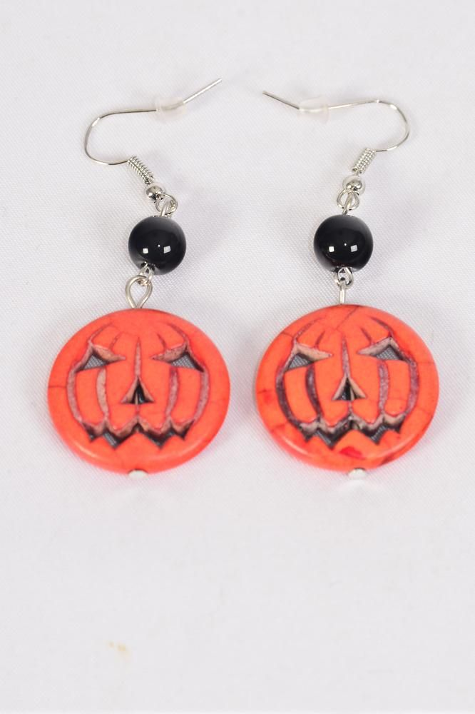 "Earrings Pumpkin Halloween Semiprecious Stone/DZ match match 25707 or 25813 **Fish Hook** Size-1.5""x 1"" Wide,Earring Card & OPP Bag & UPC Code"