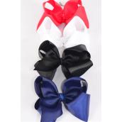 "Hair Bow Cheer Type Bow Red White Black Navy Mix Alligator Clip  Grosgrain Bow-tie/DZ **Alligator Clip** Size-8""x 7"" Wide,3 Red,3 White,3 Black,3 Navy Asst,Clip Strip & UPC Code"