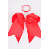 """Hair Bow Extra Jumbo Long Tail Red Elastic Grosgrain Bow-tie/DZ **Red** Elastic,Size-6.5""""x 6"""" Wide,Clip Strip & UPC Code"""