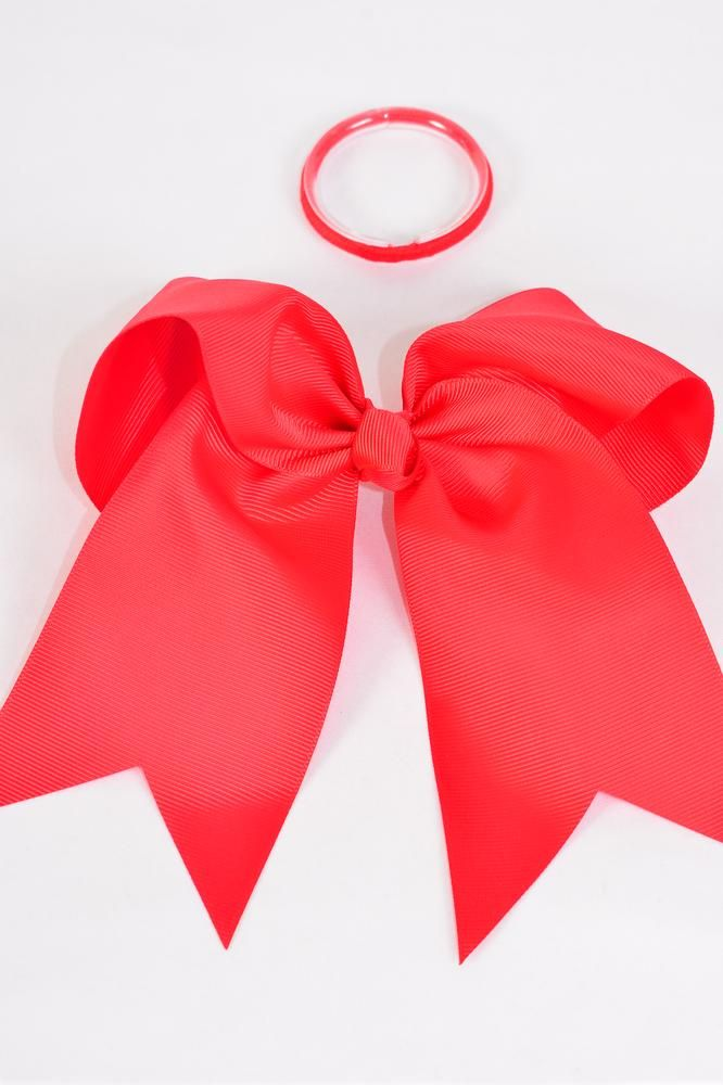 "Hair Bow Extra Jumbo Long Tail Red Elastic Grosgrain Bow-tie/DZ **Red** Elastic,Size-6.5""x 6"" Wide,Clip Strip & UPC Code"