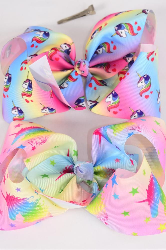 "Hair Bow Jumbo Cheer Type Bow Unicorn 2 Style Mix Grosgrain Bow-tie/DZ **Alligator Clip** Size-8""x 7"" Wide,6 of each Style Asst,Clip Strip & UPC Code"