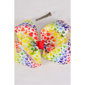 "Hair Bow Extra Jumbo Cheer Type Bow Multi Hearts Grosgrain Bow-tie/DZ **Alligator Clip** Size-8""x 7"" Wide,6 of each Color Asst,Clip Strip & UPC Code"