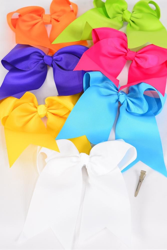 "Hair Bow Extra Jumbo Long Tail Citrus Alligator Clip Grosgrain Bowtie/DZ **Citrus** Alligator Clip,Size-6.5""x 6"" Wide,2 White,2 Fuchsia,2 Purple,2 Yellow,2 Blue,1 Lime,1 Orange,7 Color Asst,Clip Strip & UPC Code"