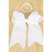 "Hair Bow Extra Jumbo Long Tail Cheer Type Bow White Elastic Grosgrain Bow-tie/DZ **White** Elastic,Size-6.5""x 6"" Wide,Clip Strip & UPC Code"