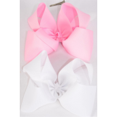 "Hair Bow Extra Jumbo Cheer Type Bow Baby Pink & White Mix Grosgrain Bow-tie/DZ **Baby Pink & White** Alligator Clip,Size-8x 7"" Wide,6 of each Color Asst,Clip Strip & UPC Code"