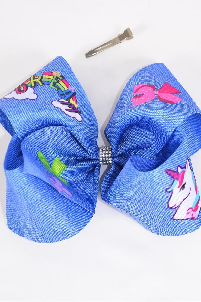 "Hair Bow Extra Jumbo Cheer Type Bow Denim Print Unicorn Grosgrain Bow-tie/DZ **Alligator Clip** Size-8""x 7"" Wide,Clip Strip & UPC Code"