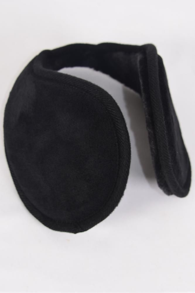 "Earmuff Fleece Super Soft Faux Fur Adult Size Flexible Black/DZ **Black** Size-4.25"",Flexible,Hang Tag & OPP Bag & UPC Code"