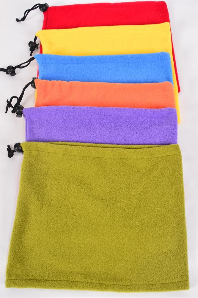 "Fleece Winter Neck Gaiter Warmer Windproof Multi/DZ **Multi** Size-10"" x 9"" Wide,2 of each Color Asst,Hang Tag & UPC Code ,OPP Bag"