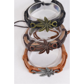 Bracelet Real Leather Band Cannabis Leaf/DZ **Unisex** Adjustable,4 of each Color Mix,Individual Hang tag & OPP Bag & UPC Code