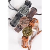 Bracelet Real Leather Band Antique Fleur De Lis/DZ **Unisex** Adjustable,4 of each Color Band Asst,,Individual Hang tag & OPP Bag & UPC Code