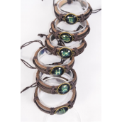 Bracelet Real Leather Band Brown Glass Zodiac Signs Asst/DZ **Unisex** Adjustable,12 Month Asst,Individual Hang tag & OPP Bag & UPC Code