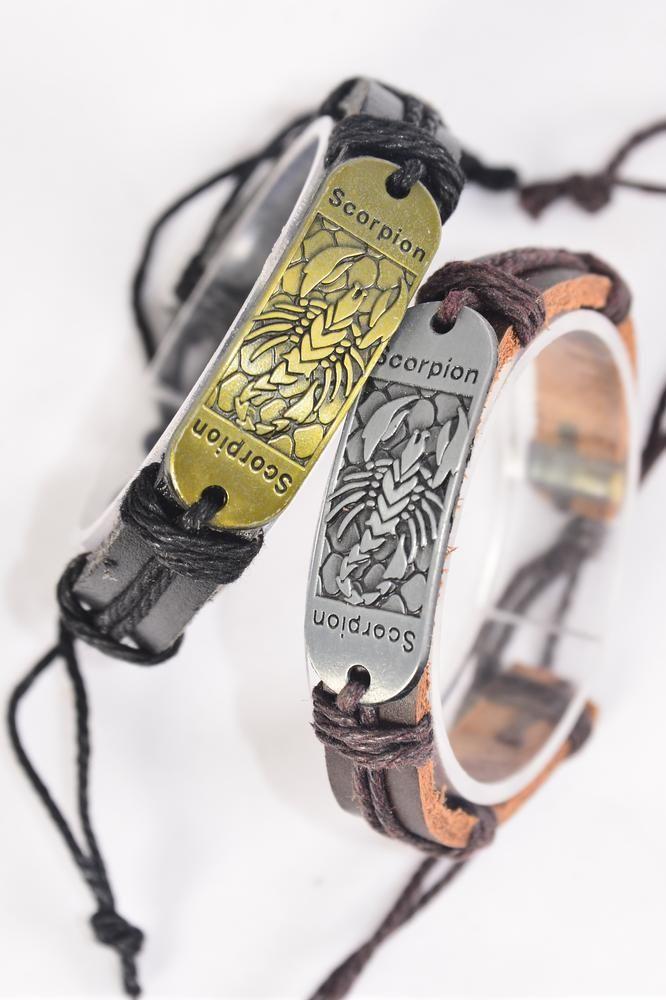 Bracelet Real Leather Band Scorpion Adjustable Dz