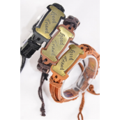 Bracelet Real Leather Band Oblong Good Friend/DZ **Unisex** Adjustable,4 of each Color Band Asst,,Individual Hang tag & OPP Bag & UPC Code
