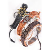 Bracelet Real Leather Band Ship Wheel/DZ **Unisex** Adjustable,4 of each Color Mix,Individual Hang tag & OPP Bag & UPC Code