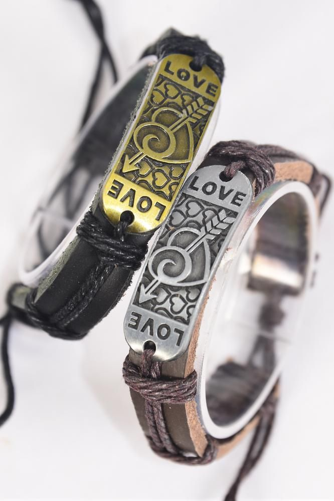 Bracelet Real Leather Band Love Hearts/DZ **Unisex** Adjustable,6 of each Color Mix,Individual Hang tag & OPP Bag & UPC Code