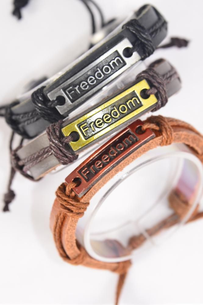 Bracelet Real Leather Band Freedom/DZ **Unisex** Adjustable,4 of each Color Mix,Individual Hang tag & OPP Bag & UPC Code