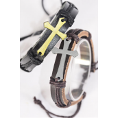 Bracelet Real Leather Band Sideways Cross/DZ **Unisex** Adjustable,6 of each Color Mix,Individual Hang tag & OPP Bag & UPC Code