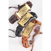 Bracelet Real Leather Band Oblong Scorpion/DZ **Unisex** Adjustable,4 of each Color Asst,Individual Hang tag & OPP Bag & UPC Code