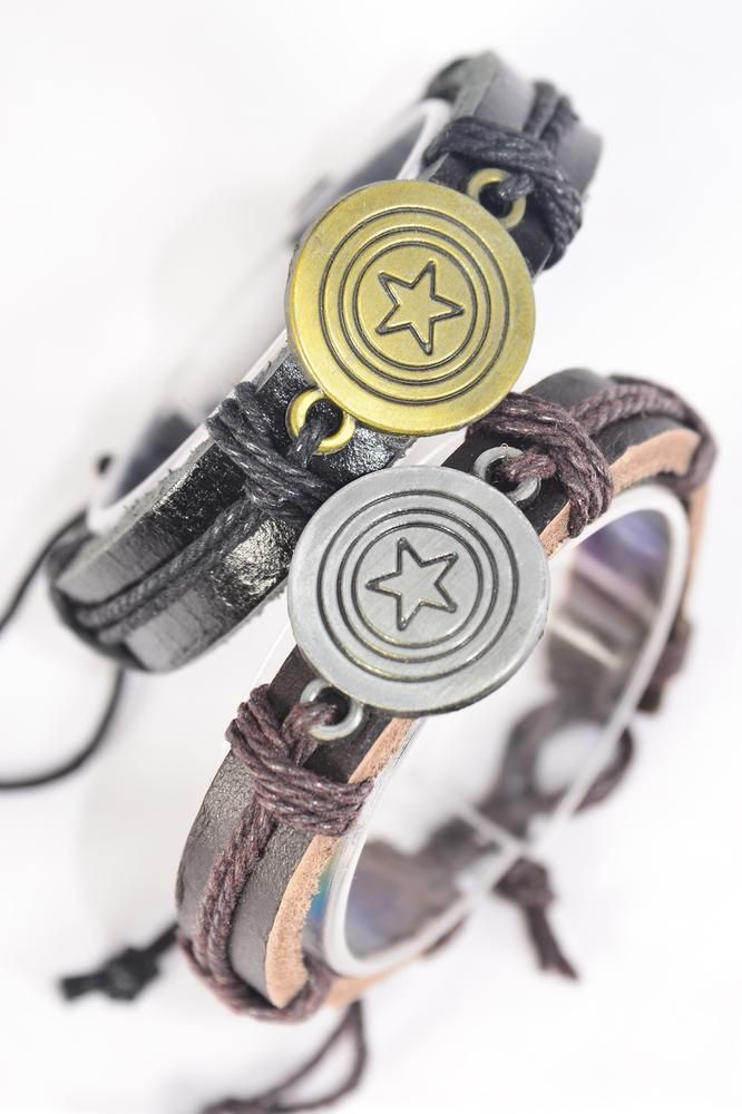 Bracelet Real Leather Band Captain Star/DZ **Unisex** Adjustable,6 of each Color Mix,Individual Hang tag & OPP Bag & UPC Code