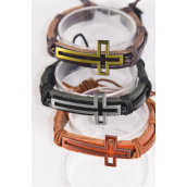 Bracelet Real Leather Band Sideways Open Cross Adjustable/DZ **Unisex** Adjustable,4 of each Color Mix,Individual Hang tag & OPP Bag & UPC Code