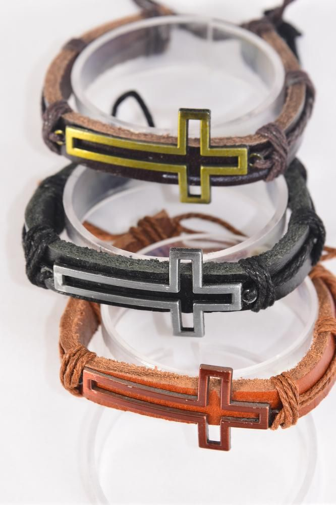Bracelet Real Leather Band Sideways Open Cross Adjustable/DZ **Unisex** Adjustable,4 of each Pattern Mix,Individual Hang tag & OPP Bag & UPC Code